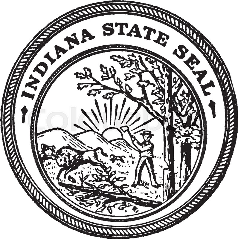 796x800 The Seal Of The State Of Indiana, This Cirle Shape Seal Has