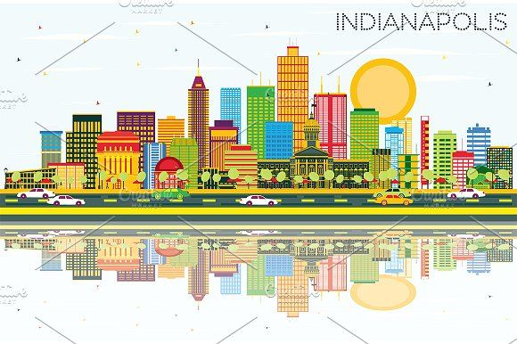 580x386 Indianapolis Skyline Skyline Silhouette, Business Travel And