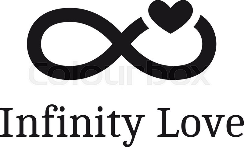 800x483 Vector Trendy Infinity Sign With Heart Logotype. Modern Romantic