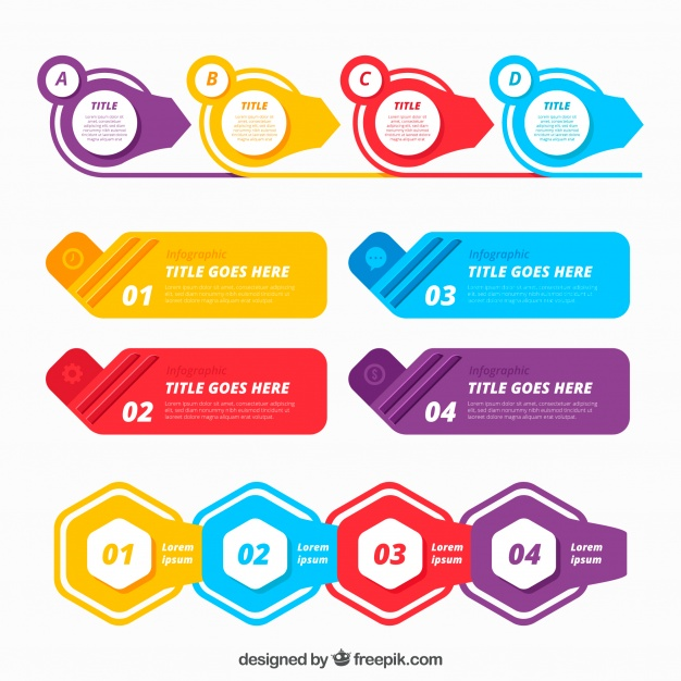 626x626 Colorful Infographic Elements Collection In Flat Style Free Vector