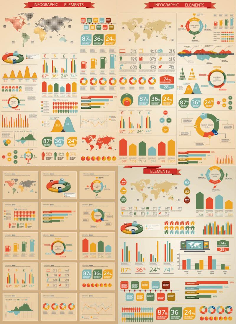800x1100 Retro Infographic Elements Vector Vector Graphics Blog