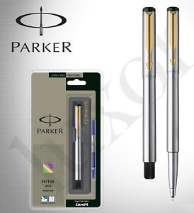 274x300 Genuine Parker Vector Stainless Steel Gt Gold Trim Roller Ball