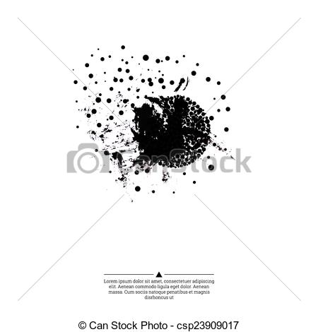 450x470 Ink Splatter With Small Drops Of Black. Grunge Vector Hand Drawn