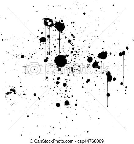 439x470 Black Ink Splatter Background, Isolated On White.