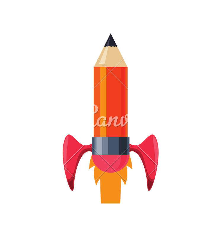746x800 Light Bulb Pencil Rocket Start Up Innovation Icon. Vector Graphi