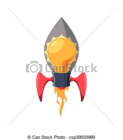 414x470 Light Bulb Rocket Start Up Innovation Icon. Vector Graphic. Light