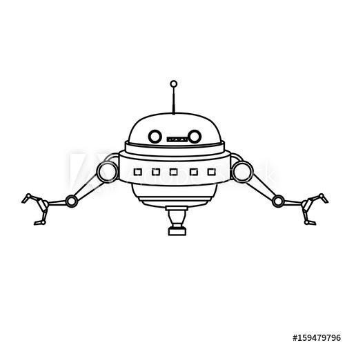 500x500 Cartoon Robot Technology Futurist Innovation Icon Vector