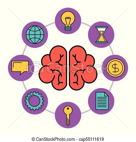 450x467 Human Brain Creativity Network Innovation Icons Vector Illustration.