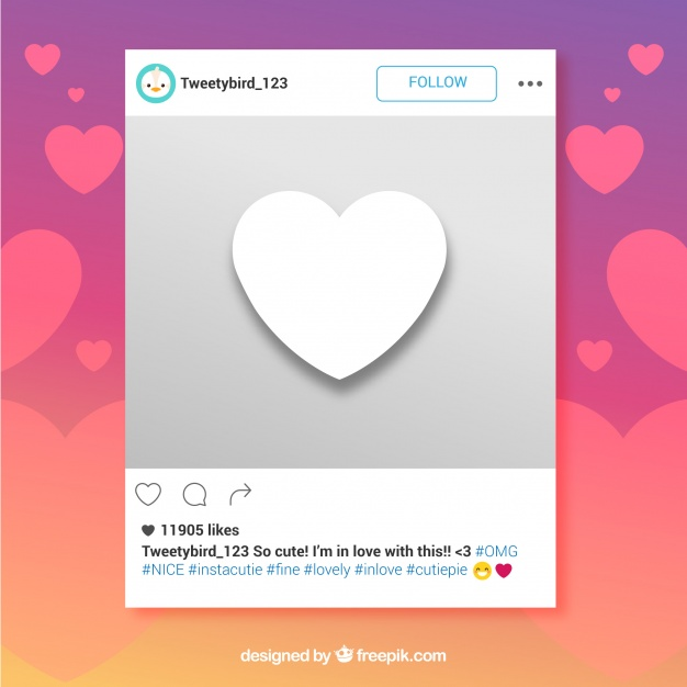 626x626 Instagram Frame With Heart Vector Free Download