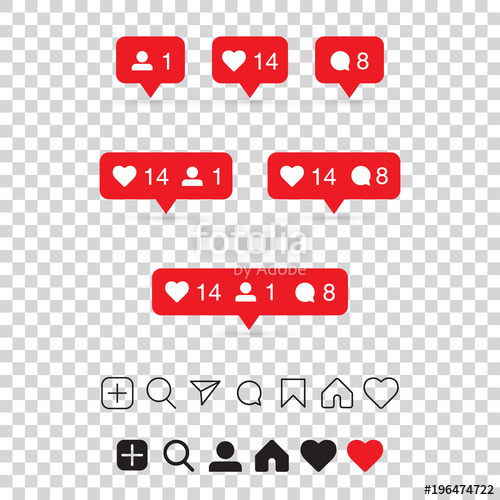 500x500 Set Of Social Media Icons Inspired By Instagram Like, Follower