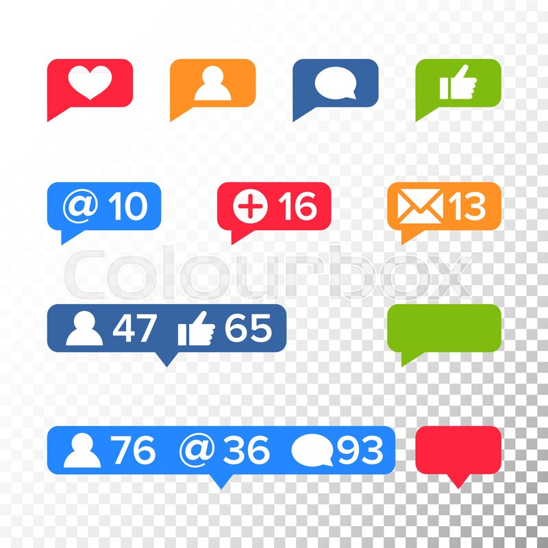 800x800 Notifications Icons Template Vector. Like Symbol, Message And