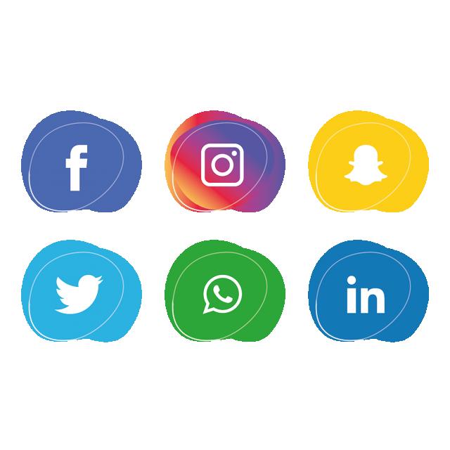 640x640 Social Media Icons Set. Facebook, Instagram, Whatsapp,, Social