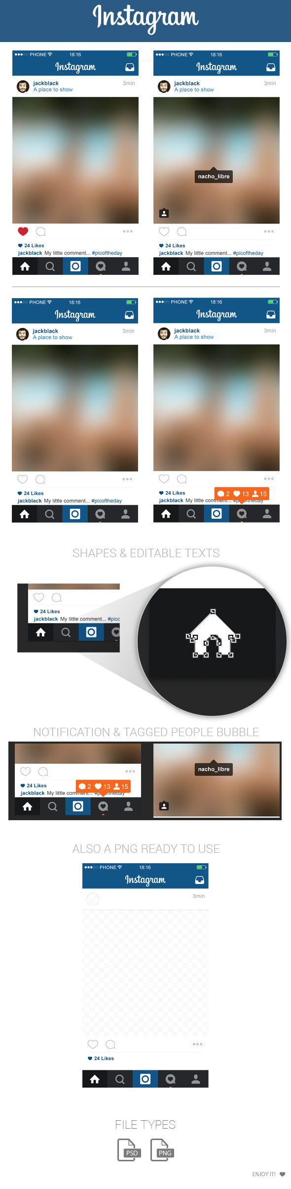 590x2405 Free Instagram Home Layout Ui Psd May 2015 By Marinad