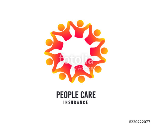 500x412 People Care Logo. Hospital Insurance Vector Icon. Medical Health