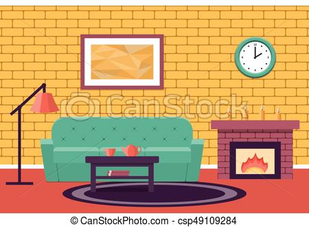 450x331 Flat Design Living Room. Vector Graphic. Room Interior. Vector