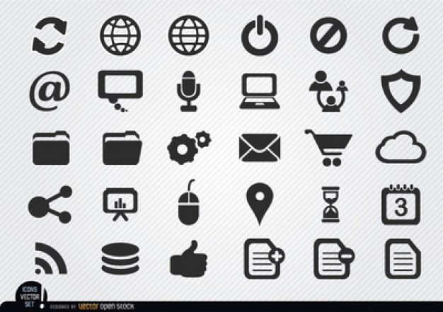 626x441 Flat Internet Icons Vector Pack Vector Free Download