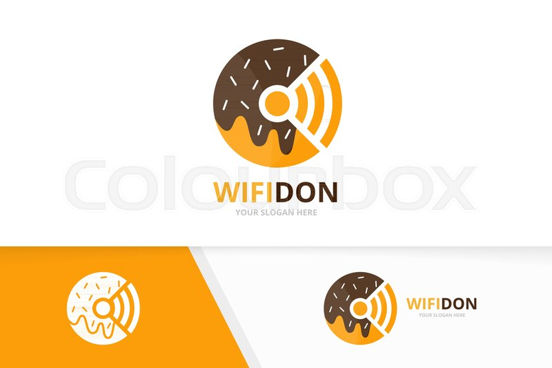 800x533 Vector Donut And Wifi Logo Combination. Doughnut And Signal Symbol