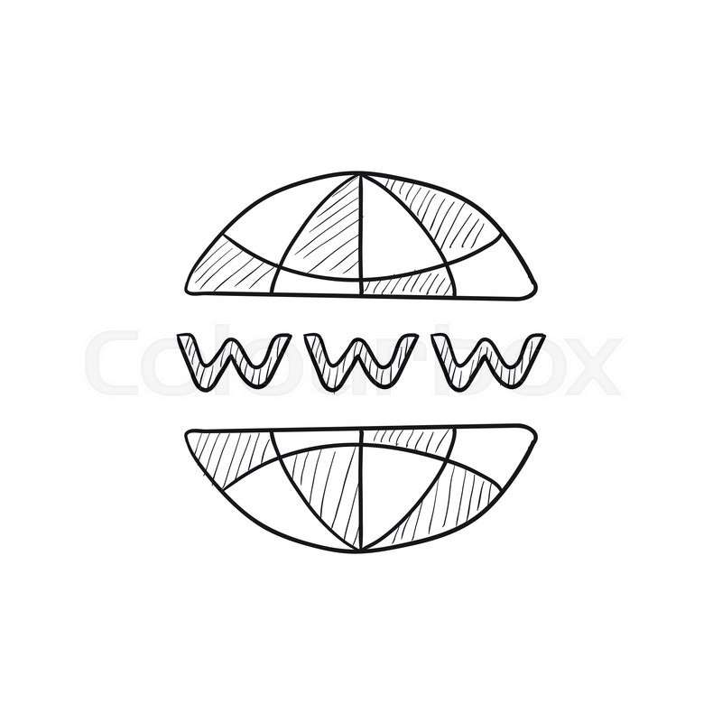800x800 Globe Internet Vector Sketch Icon Isolated On Background. Hand