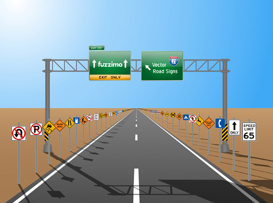 550x409 Free Vector Road Signs (Glossy Or Plain) Fuzzimo