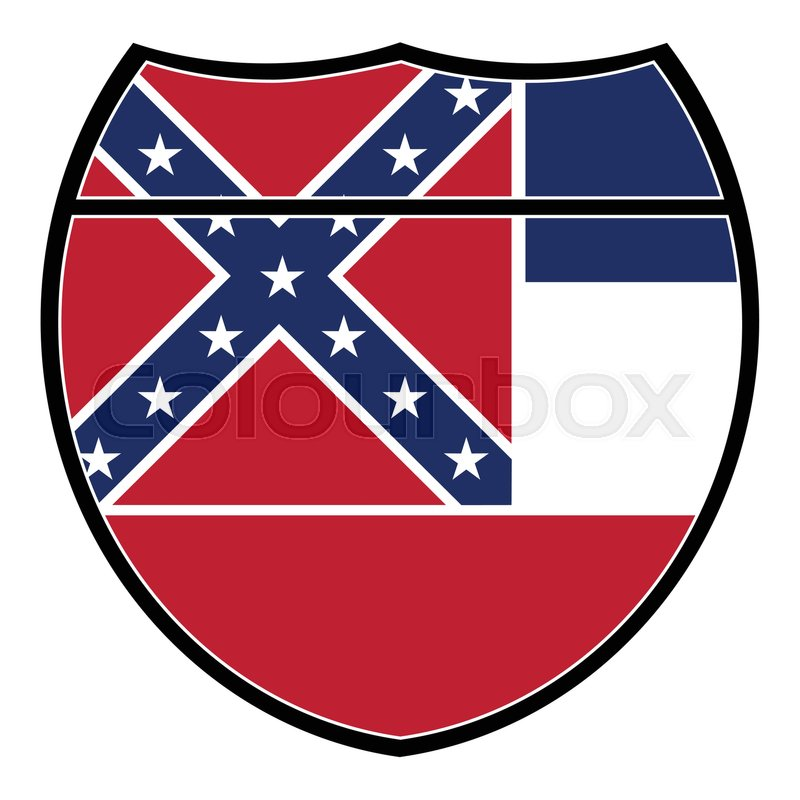800x800 Mississippi Flag In An Interstate Sign Over A White Background
