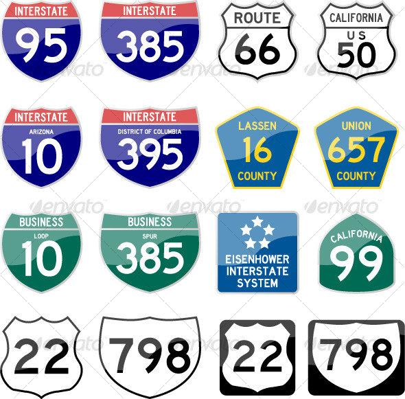 590x581 Road Sign Interstate Glossy Vector (Set 6 Of 6) By Leremy