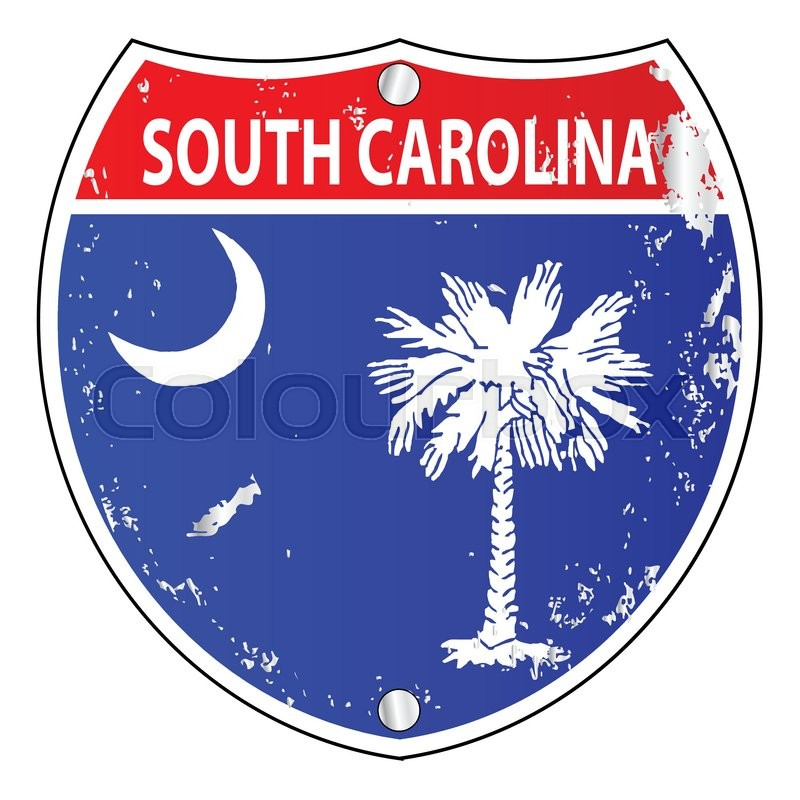 800x800 South Carolina Flag Icons As An Interstate Sign Over A White