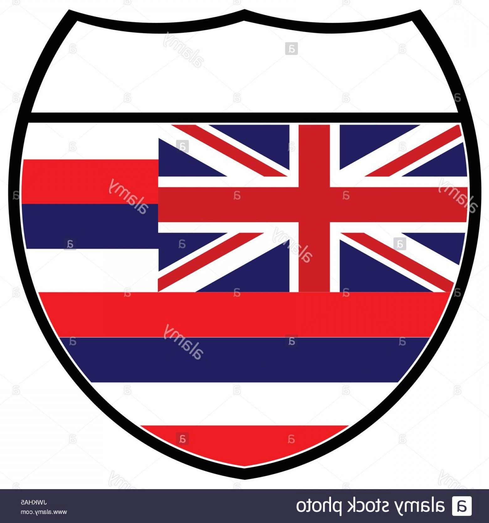 1560x1668 Stock Photo Hawaii State Flag In An Interstate Sign Over A White