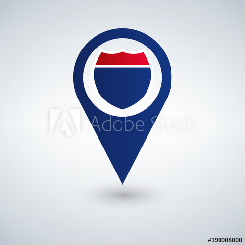 500x500 Map Pointer With Interstate Sign, Vector Illustration.