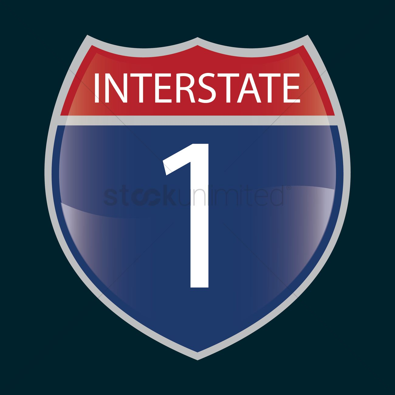 1300x1300 Interstate 1 Route Sign Vector Image