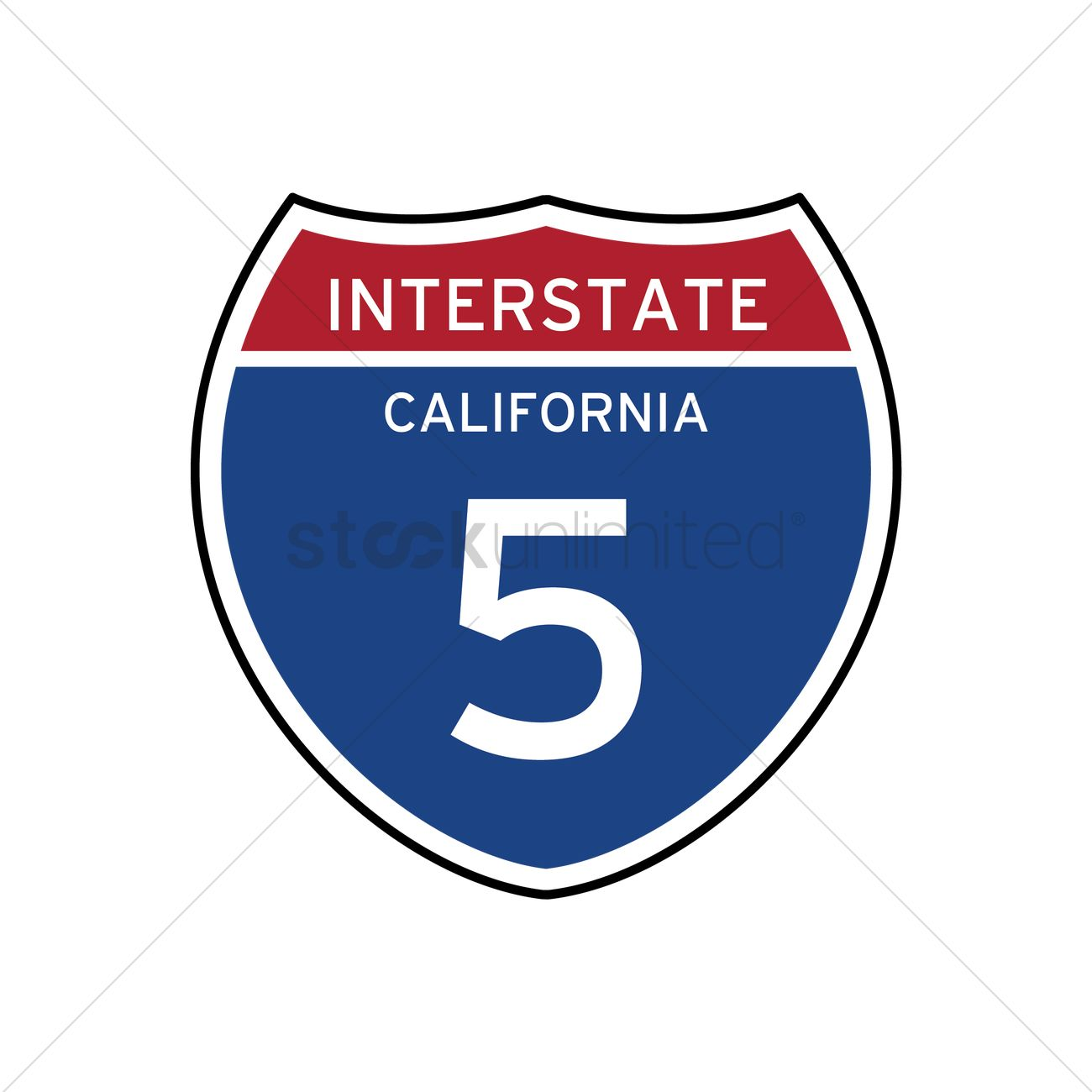 1300x1300 Interstate California 5 Route Sign Vector Image