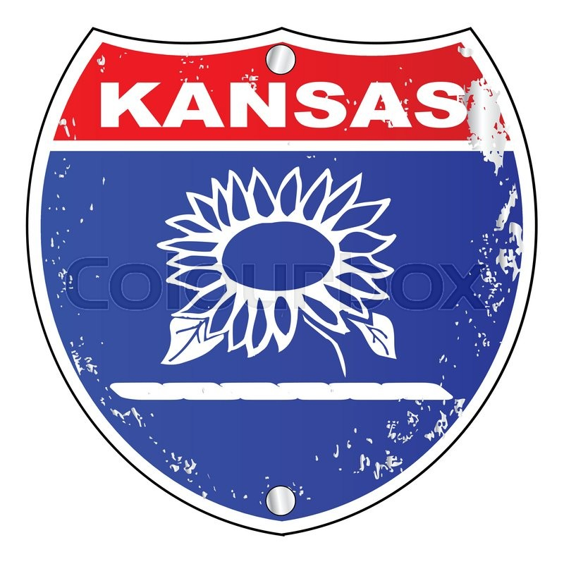 800x800 Kansas Interstate Sign With Flag Cross Over A White Background