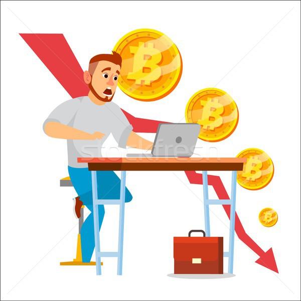 600x600 Bitcoin Crash Graph Vector. Bitcoin Crypto Currency Market Concept