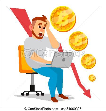 450x470 Bitcoin Crash Graph Vector. Bitcoin Price Drops. Crypto Currency