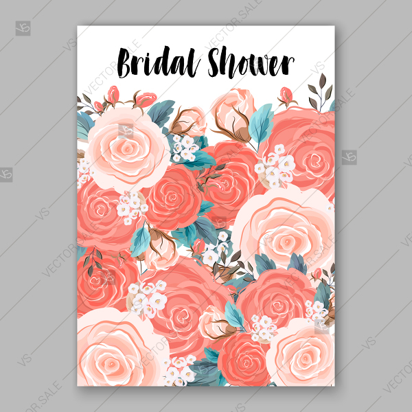 600x600 Coral Pink Rose Wedding Invitation Card Vector Printable Template