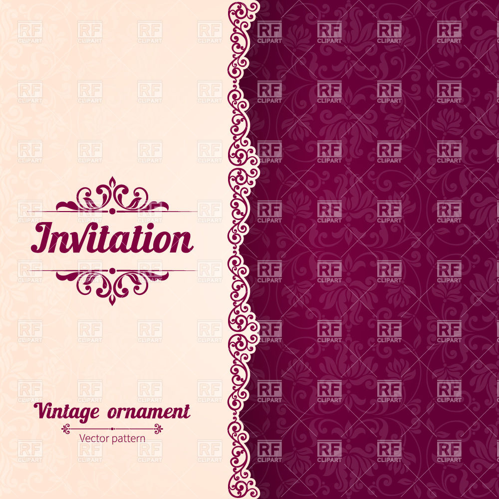 1000x1000 Invitation Card Template With Curly Border And Damask Background