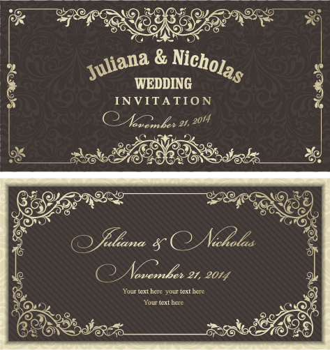 473x502 Decorative Pattern Wedding Invitation Cards Vector Set Free Vector