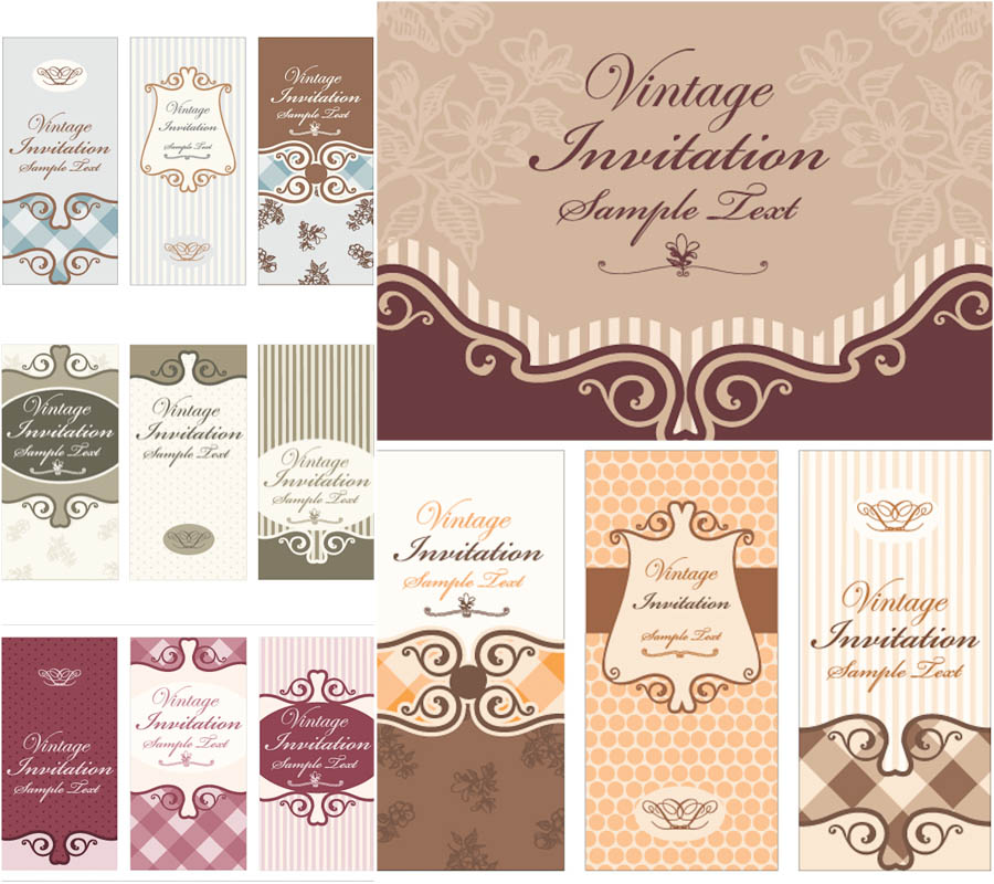 900x800 Retro Invitation Cards Vector Vector Graphics Blog