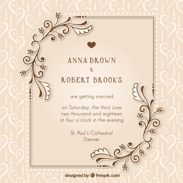 626x626 Vintage Wedding Invitation With Floral Details Vector Free Download