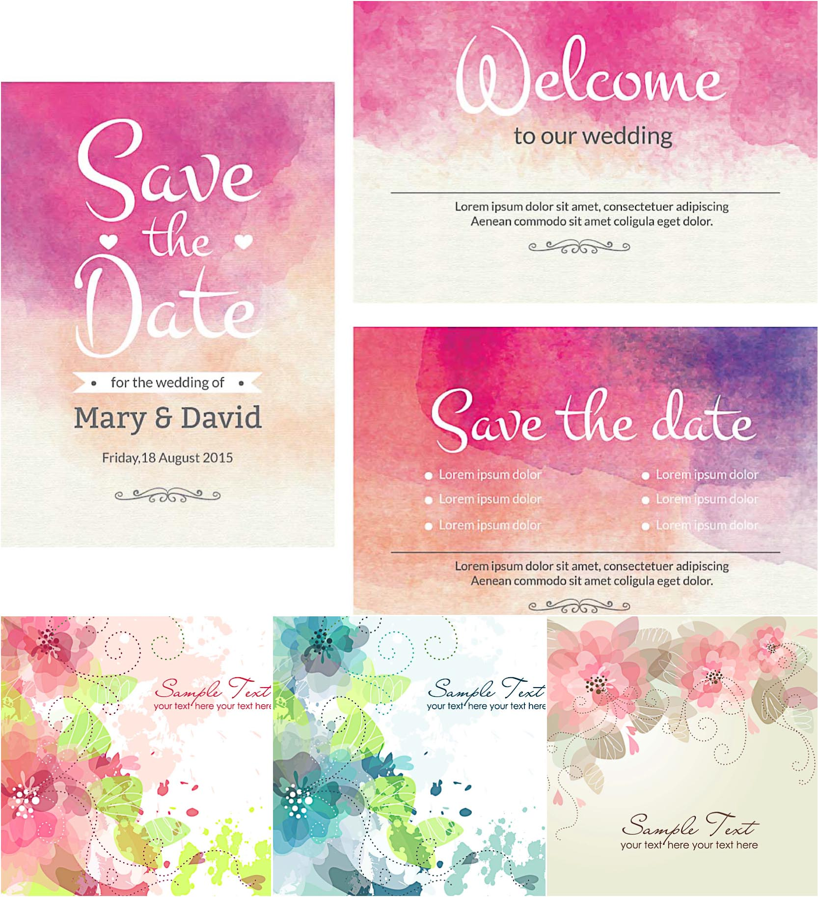 1666x1825 Watercolor Wedding Invitations Set Vector Vintage Invitation Card