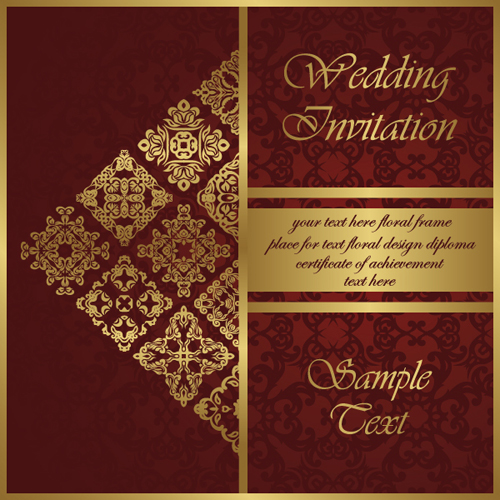 500x500 Wedding Invitation Card Vintage Styles Vector 02 Free Download