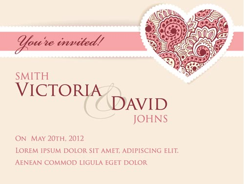 500x377 Wedding Invitation Cards Vectors