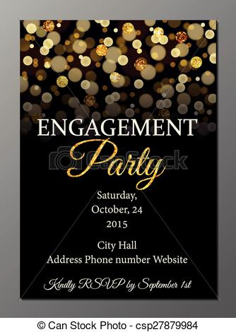 334x470 Engagement Party Invitation Card. Vector Illustration Of Party