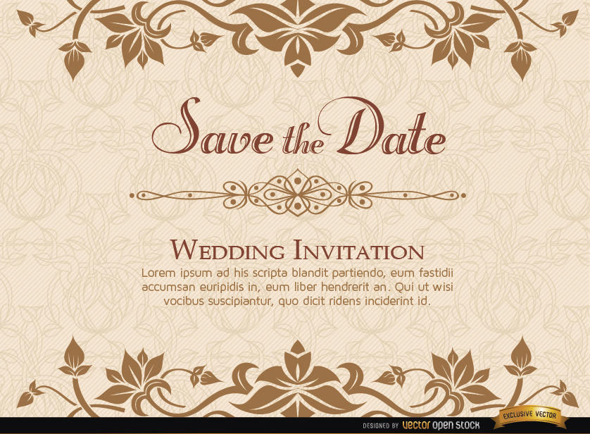 838x616 Golden Floral Wedding Invitation Template