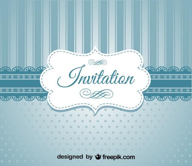 626x543 Retro Blue Elegant Invitation Design Vector Free Download