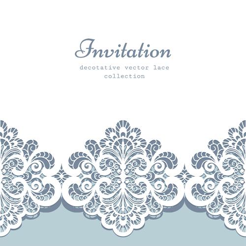 500x500 Decorative Lace Invitation Cards Vector Design