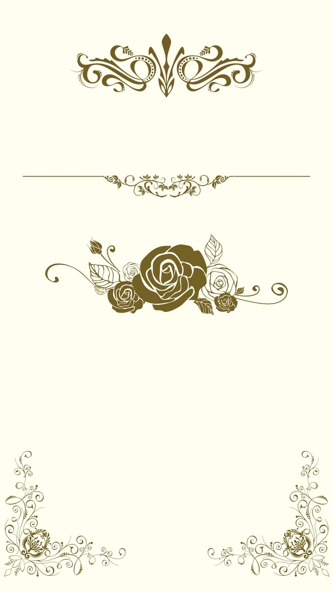 650x1154 H5 Simple Wedding Invitation Vector Background Material, Simple