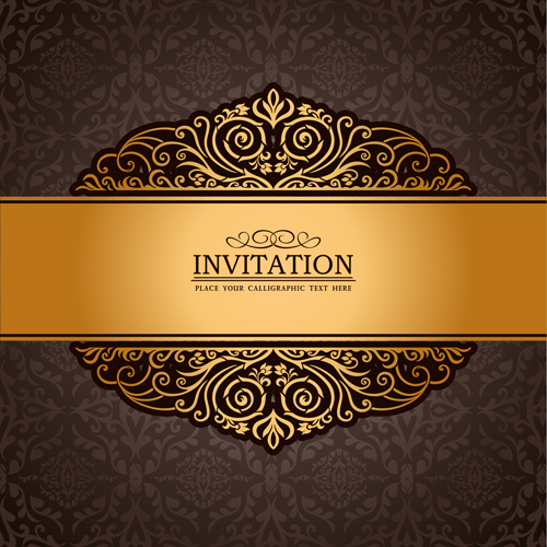 500x500 Set Of Luxury Invitation Background Elements Vector Free Vector In