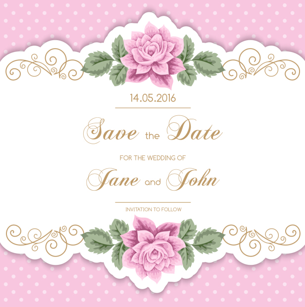 616x620 Vintage Flower With Wedding Invitation Vector 14 Free Download