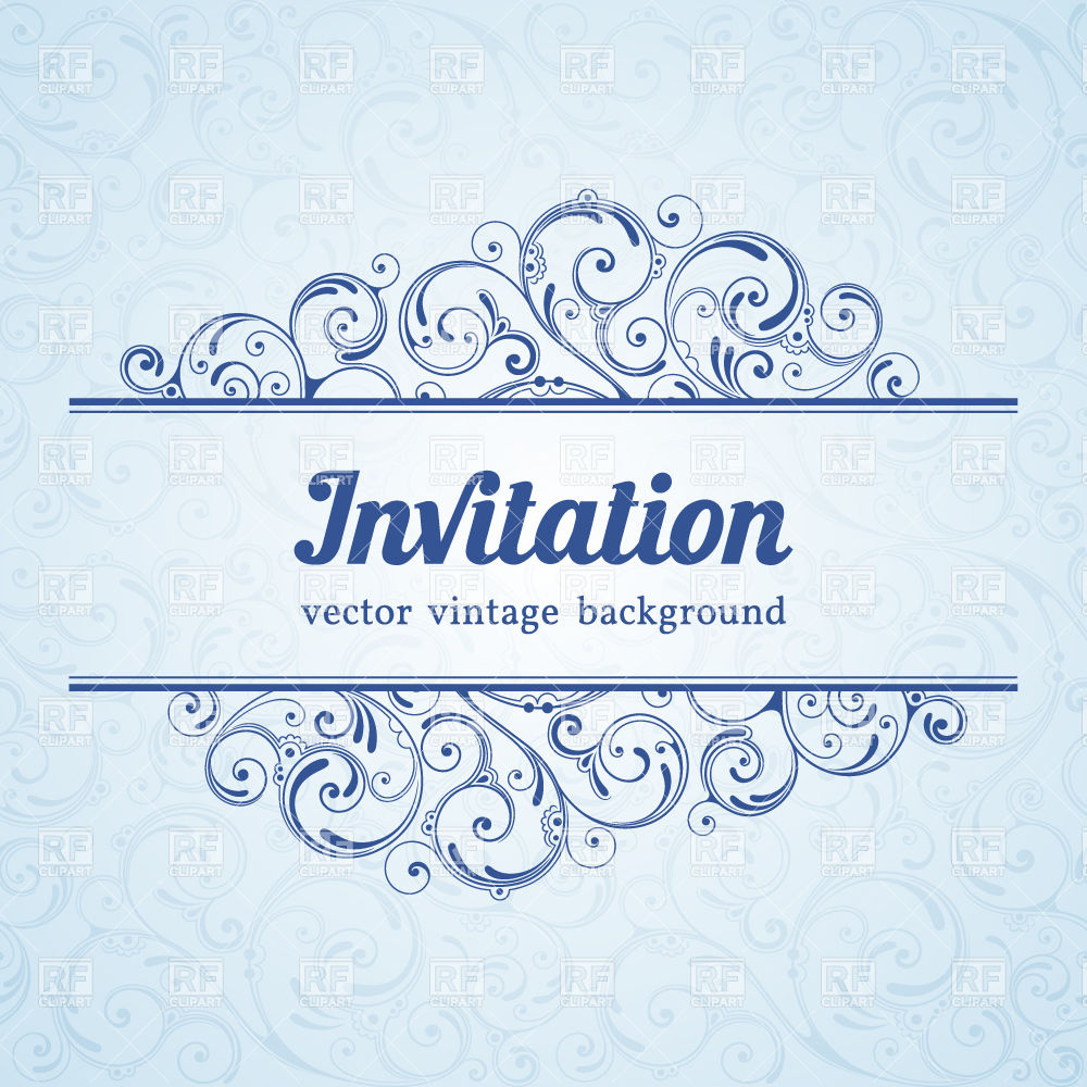 1000x1000 Blue Vintage Invitation Template With Curly Borders