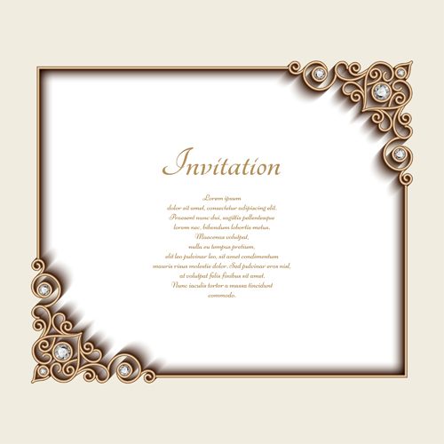 500x500 Vintage Golden Frames With Diamond Invitation Vector 03 Free Download